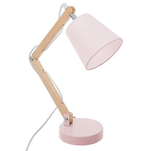 Schreibtischlampe Tischleuchte, H: 36 cm, Metall und Holz, E14, max 25W (Rosa)