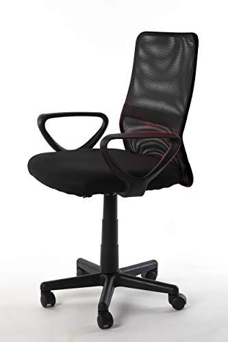 NAKURA Silla de Oficina en Tejido 3D, con Sistema de balanceo, reposabrazos Desmontables y Respaldo ergonómico Negro