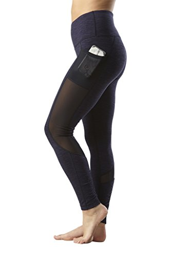 Yogalicious High Waist Mesh Leggings with Phone Pocket - Tummy Control Yoga Pants - Heather Blue Moon - XS