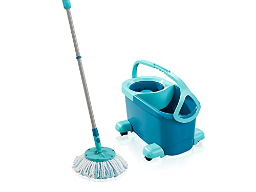 Leifheit Clean Twist Disc Mop Ergo Mobile Set, Moisture Controlled Spin, Wheeled Bucket, Faster Cleaning, Easy-Steer Micro Fibre 33cm Head with 360° Joint, Spin Mop System