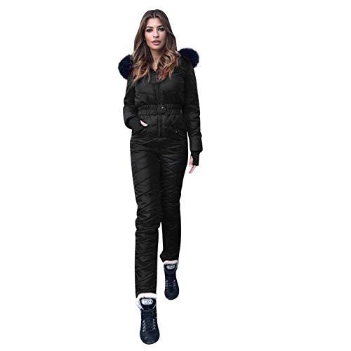 FNKDOR Combinaison de Ski Femme Décontractée Épais Chaud Snowboard Sports Pantalon Sports Suit de Ski Extérieur des Sports Fermeture éclair Combinaison Neige(Noir,S)