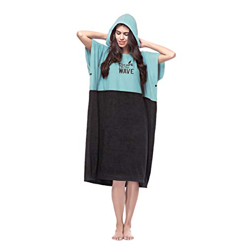 Vulken Extra Large Thick Hooded Beach Towel Changing Robe. Surf Poncho Men and Women for Easy Change in Public. Quick Dry Microfiber Towelling for the Beach, Pool, S/M, Teal