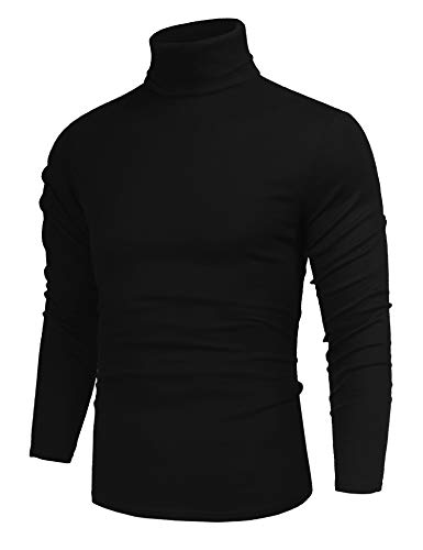 poriff Men's Basic Turtleneck Pullover Melange Colored Slim Fit Long Sleeve Sweater Black M