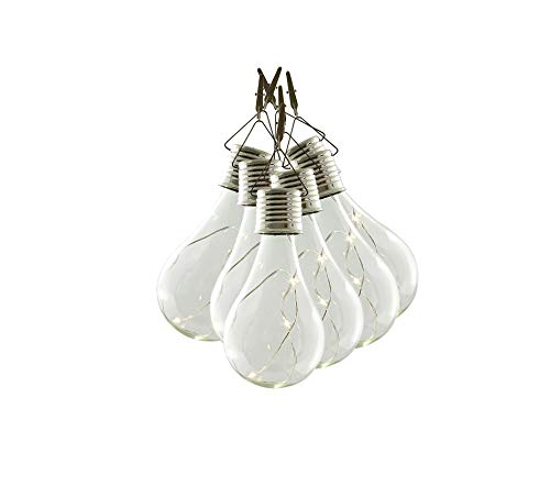 6x Hängelampe Solar Glühbirne Außen Garten Lampe Micro Led Lichterkette Pendelleuchte Dekoleuchte