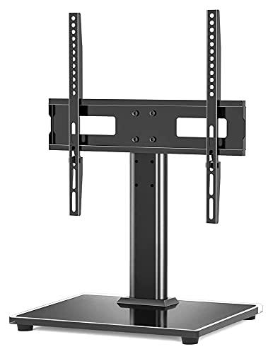 WECDS Soporte para TV de mesa para 22 – 55 LED Plasma Plano y Curvado TV Pedestal con Base de Cristal Templado de 8 mm (Color: Negro)