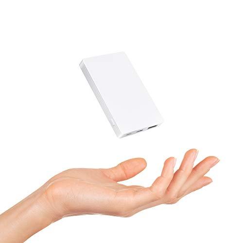 モバイルバッテリー 世界最小最軽 4000mAh コンパクト 大容量 超薄型 軽量 TYPE-CとMicro-USB入力2ポート ...