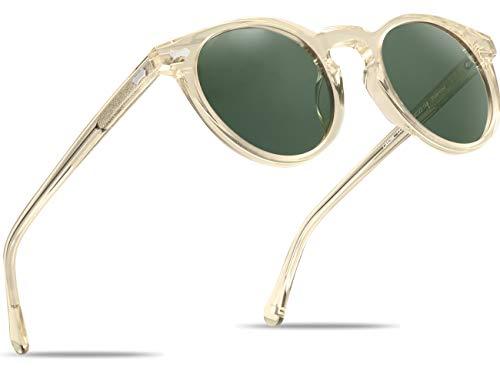 Carfia Vintage Polarizadas Gafas de Sol Mujer Hombre UV400 Protección para Viajes Conducir (Marco amarillo transparente gris y lente verde, Ancho de la lente: 48 mm)