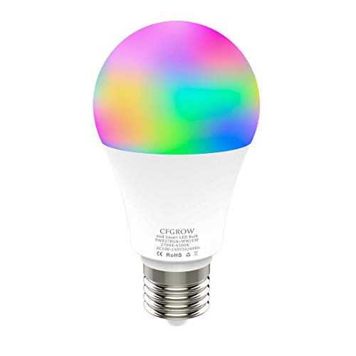Lampadina Intelligente, Smart WiFi LED E27 9W Multicolore Dimmerabile Lampadine, Compatibile con Alexa, Google Home, IFTTT Nessun Hub Richiesto