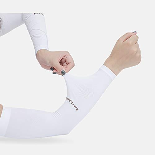 CCINEE アームカバー 腕カバー 冷感作用 吸汗速乾 滑り止め UV対策 日焼け止めカバー 紫外線対策 スポーツ活動用【男女兼用】 【両腕2枚組】 (ホワイト)