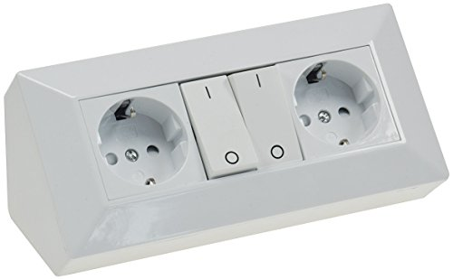 Aufbau Steckdose Ecksteckdose mit 2 Steckdosen und 2 Schalter Einzelabschaltung I 230V / 16A I 90° Winkel Aufbau & Eck-Montage I Weiß