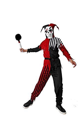 DM Disfraz de Bufn Diablico/Asesino. Incluye: Capucha, camiseta, pantaln, cinturn y mscara. Talla nica de adulto.