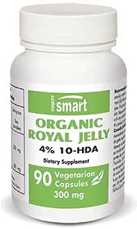 Supersmart - Organic Royal Jelly 4 % 10-HDA 100 mg - Support Immune System - Helps to Restore Energy, Drive & Vitality in Periods of Fatigue | Non-GMO & Gluten Free - 90 Vegetarian Capsules