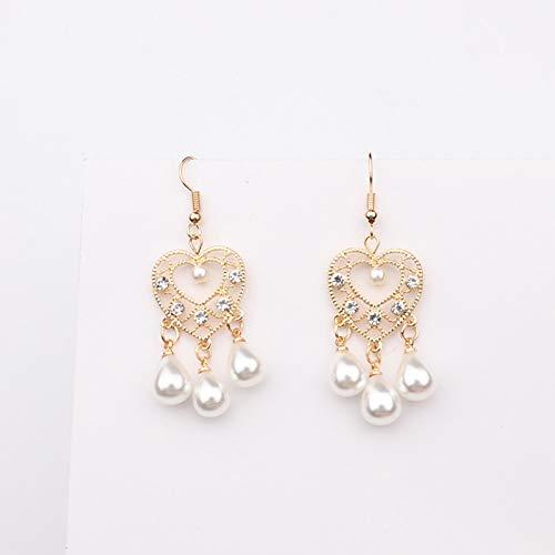 JINGM Amour Coeur Goutte d'eau Simulé Perle Dangle Boucles d'oreilles pour Les Femmes Accessoires De Mode Strass