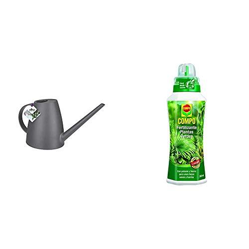 Elho Brussels Watering Can Regadera, 1.8 litros, Antracita, 13.4 x 33 x 17.8 cm + Compo Verdes para Plantas de Interior, balcón y terraza, Fertilizante líquido con Extra de potasio y Hierro