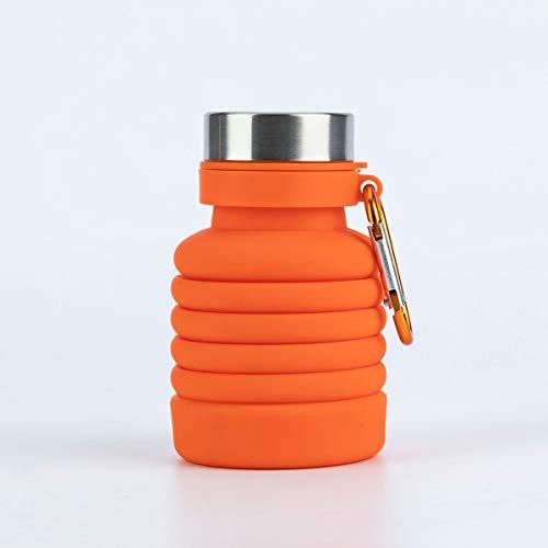 HAOXUAN Botella de Agua Plegable de 500 ml, Botellas de Ciclismo de Silicona retráctiles portátiles para Correr, Botella de Agua de Senderismo para Viajes Deportivos al Aire Libre,Naranja
