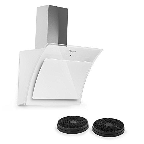 KLARSTEIN Sabia - Hotte aspirante, 600m³/h, 3 vitesses Filtres à graisse, Eclairage LED, Verre de sécurité, Kit de montage complet, Ecran télescopique, Filtres, 60 cm - Blanc