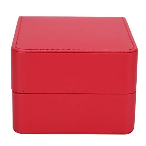 01 Caja de Reloj de Cuero de PU, Caja de Reloj amistosa, hogar para Collares de Oficina de Pulseras(Red)