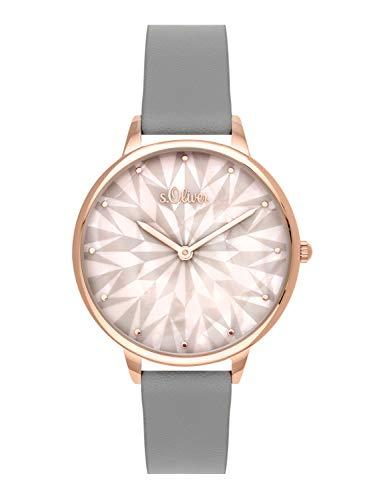 s.Oliver Time Damen Analog Quarz Uhr mit PU Armband SO-3578-LQ