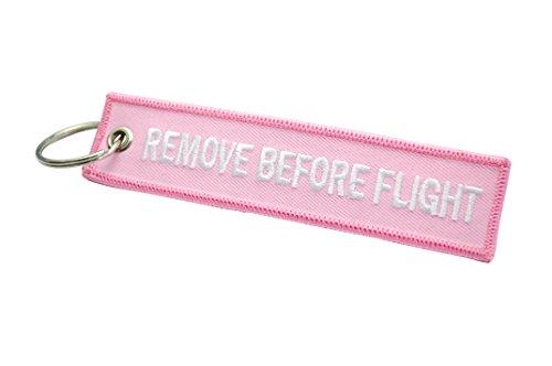 """Targhetta per valigia/portachiavi con scritta ricamata """"Remove before Flight"""", di qualità (più colori disponibili), Pink (Rosa) - AVM-RBF-PINK-W"""