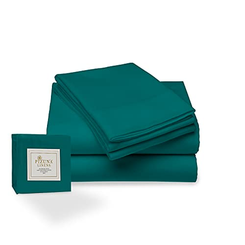 Juego de sábana de 400 conteo de Hilos, 4 Piezas de 100% algodón de Fibra Larga, Suave Saten...