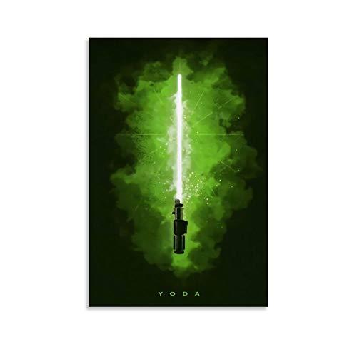 DRAGON VINES Star Wars Master Yoda - Póster de espada de luz verde para decoración de pared para dormitorio y sala de estar, 30 x 45 cm