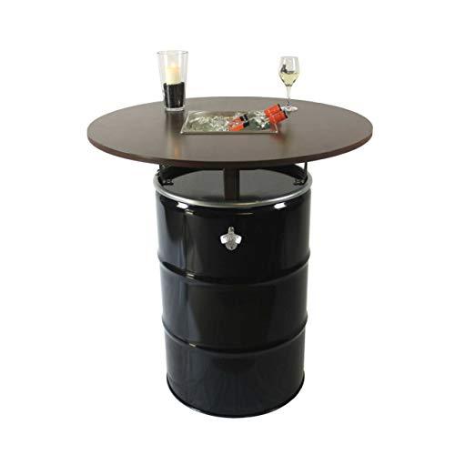 Rogge´s RelaxGrill Partytisch Tondo – Stehtisch mit integriertem Getränkekühler – Biertisch, Gartentisch, Ölfass-Tisch