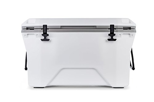 Camco Currituck White and Gray 50 Quart Cooler - Rugged Exterior Made for Camping, Hunting, Fishing and Tailgating - Comes with Cooler Basket (51700)