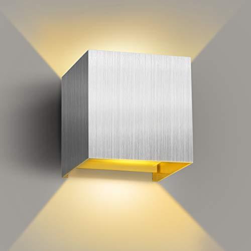 LED Wandleuchte, Innen/Aussen Wandlampe mit Einstellbar Abstrahlwinkel, 12W 3000K Warmweiß IP65 Wasserdichte, Aluminium Modern Up/Down Wandbeleuchtung für Wohnzimmer Schlafzimmer Treppenhaus Flur