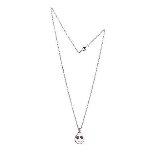Nenalina Smiley Anhänger mit Zwei roten Zirkonia Augen und Halskette in 925 Sterling Silber, Damen-Kette für Frauen mit Anhänger, Halsketten Länge 45cm, 244059-024