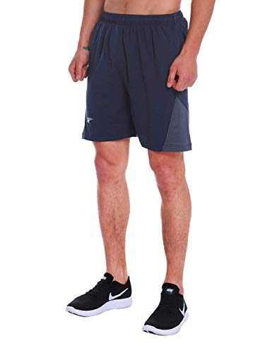 EZRUN Men's 7 Inch Quick Dry Running Shorts Workout Sport Fitness Short with Liner Zip Pocket(Blue,M)