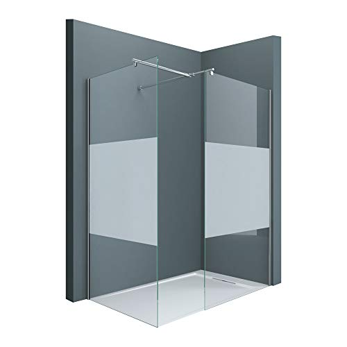 Sogood Luxus Duschwand Duschabtrennung Bremen1MS 90x120 Walk-In Dusche aus 2 festen Glaselementen mit Stabilisator aus Echtglas 8mm ESG-Sicherheitsglas Klarglas inkl. Nanobeschichtung