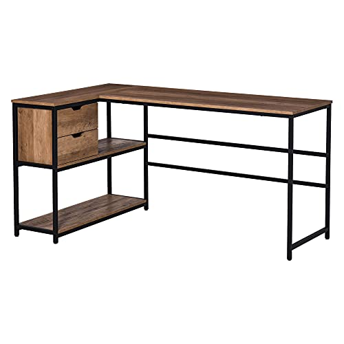 HOMCOM L-Shaped Home Office Writing Desk with Storage Shelf, Drawer, Industrial Corner PC Study Table Computer Workstation, Brown
