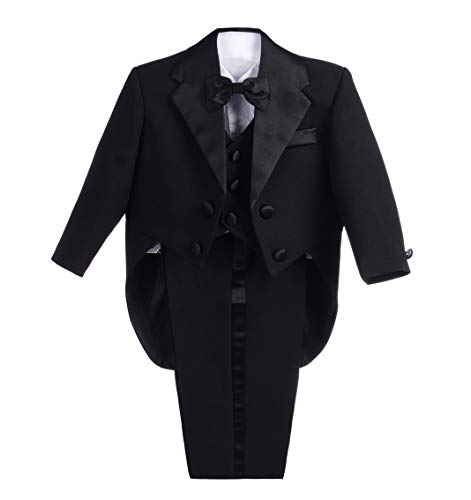 Lito Angels Baby Jungen 5 Teiliges Formale Smoking Anzug Anlass Kleidung Page Boy Anzug Hochzeit mit Fliege 9 Monate Schwarz
