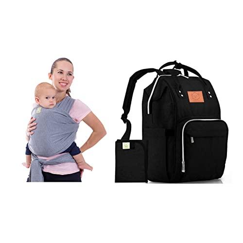아기 랩 캐리어와 기저귀 가방 번들 - 여행 손이 큰 기저귀 가방 & 신축성있는 아기 슬링 캐리어 - 신생아 유아 및 아기 용