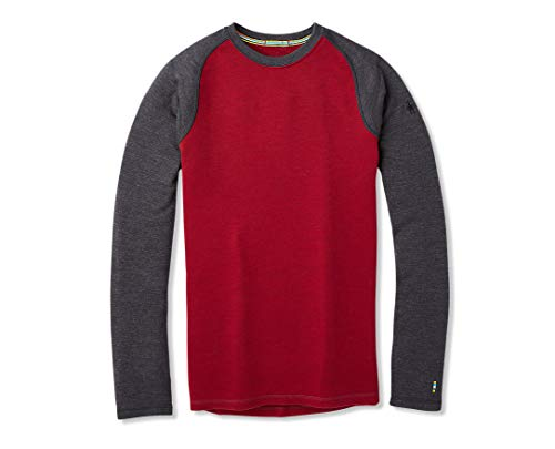 Smartwool Men's Base Layer Top Tibetan RED H-Charcoal Heather Medium