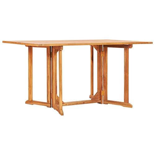 Tidyard Tavolo Pieghevole a Farfalla, Tavolo da Giardino, Tavolo da Esterno in Legno Massello di Teak 150x90x75 cm