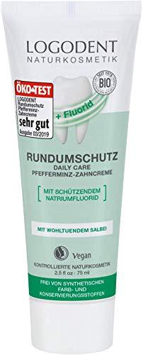 LOGODENT Naturkosmetik EXTRAFRISCHER RUNDUMSCHUTZ daily care Zahncreme mit Fluorid, Mit Bio-Pfferminzöl, Mit Natriumfluorid zur effektiven Kariesprophylaxe, Vegan, 1 x 75ml