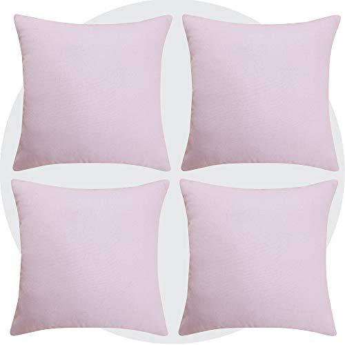 Deconovo Funda de cojín de lino con aspecto de grava, 40 x 40 cm, color rosa, juego de 4