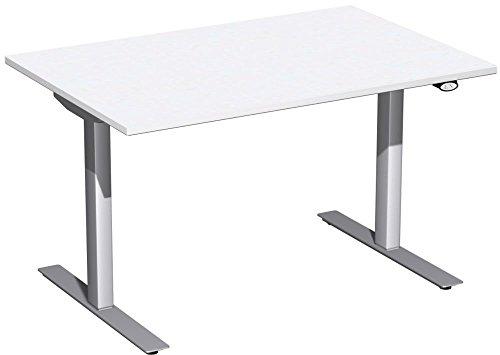 Elektrisch höhenverstellbarer Schreibtisch, 1200x800x680-1160, Weiß/Silber, Geramöbel