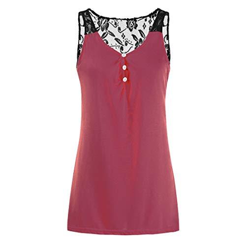 Camisola Informal sin Mangas de Verano para Camisetas sin Mangas Plisadas con botón Plisadas con Cuello en V para Mujer Camisas Blusa Chaleco sin Mangas Abotonado con Costuras de Encaje para Mujer