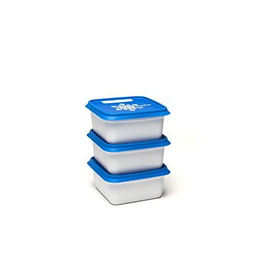ALASKA, set de 3 Boites à congélation -30°c et conservation d'aliments et repas. Rangement pratique pour la cuisine avec un couvercle fréquemment réinscriptible, couleur Blanc/Bleu, 3 x 500 ml.