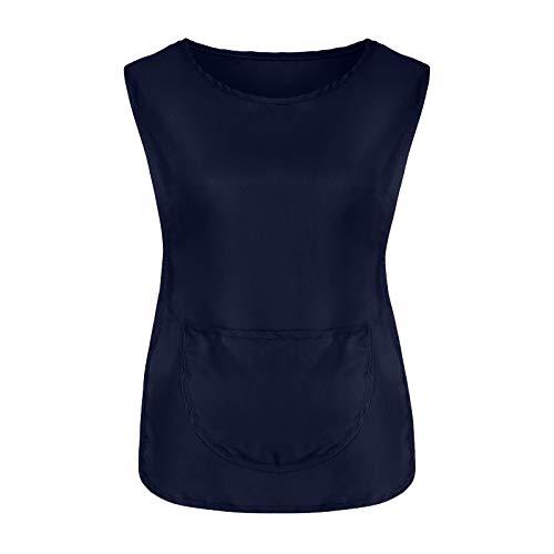 YXIU Chaleco de mujer con cuello en O, con botones de trabajo, para la cocina, ropa de trabajo, uniformes, cuidados, chaleco con cordones, camisa casaca marine XL