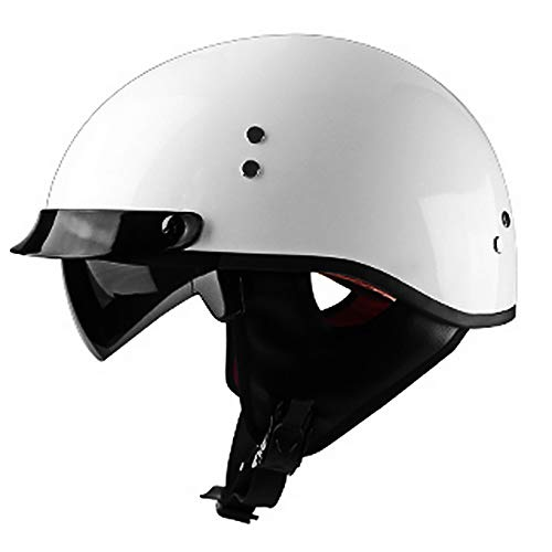 JJXD Adulti Motociclo Mezzo del Casco Adulto apparenza Half Shell DOT Certificato Boy Girl Rambler Retro Bike Scooter Via Cavallo Harley Casco del Motociclo,L