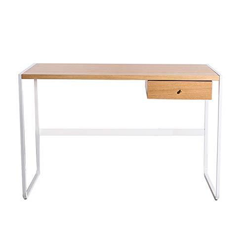 ZHFC Home Office Computer Schreibtisch mit Schublade, Schreibzimmer Laptop Tisch, Kiefernholzplatte, Metall Eisen Tischbeine, für Schlafzimmer, Wohnzimmer