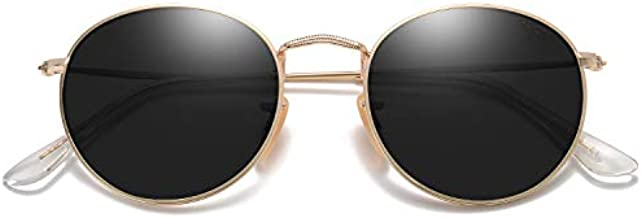 SOJOS Polarized Sunglasses Classic Small Round Metal Frame for Women Men SJ1014 with Gold Frame/Grey Lens