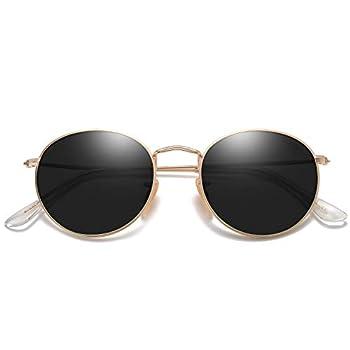 SOJOS Small Round Polarized Sunglasses for Women Men Classic Vintage Retro Shades UV400 SJ1014 Gold/Grey