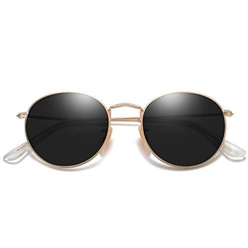 SOJOS Small Round Polarized Sunglasses for Women Men Classic Vintage Retro Frame UV Protection SJ1014 with Gold Frame/Grey Lens
