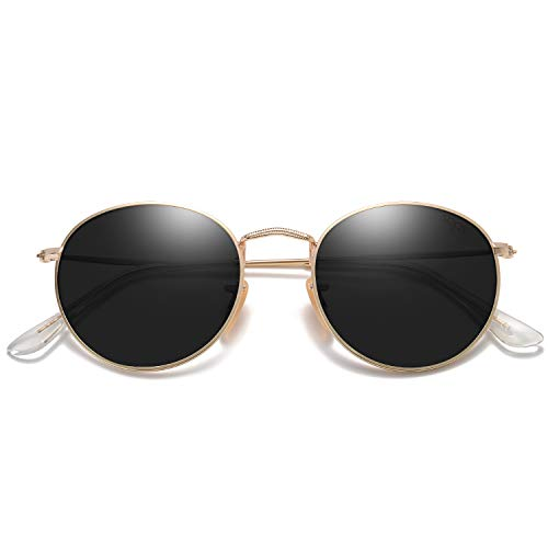 SOJOS Small Round Polarized Sunglasses for Women Men Classic Vintage Retro Frame UV Protection SJ1014 with Gold Frame/Grey Lens