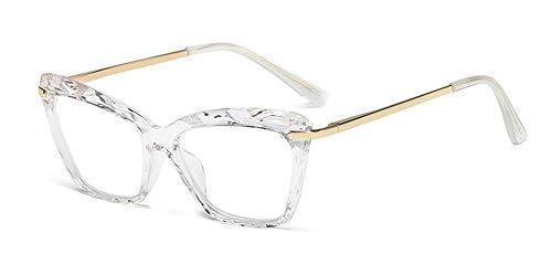 ZEVONDA Gafas Mujer - Vintage Ojo de Gato Transparente Cristal Grandes Monturas de Gafas Lente Claro Moda Accesorios, Transparente