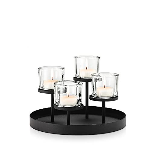 blomus -NERO- Kerzenleuchter aus pulverbeschichtetem Stahl mit Glas, moderner Kerzenhalter mit hochwertiger Verarbeitung, stilvolles Wohnaccessoire (H / B / T: 21,5 x 31,5 x 31,5 cm, Schwarz, 65558)